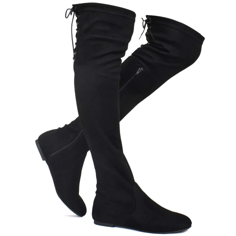 Premier Standard - Women's Fashion Comfy Vegan Suede Side Zipper Over Knee High Boots, TPS Boots-04Eikciv Black Su Size 10 by Premier Standard