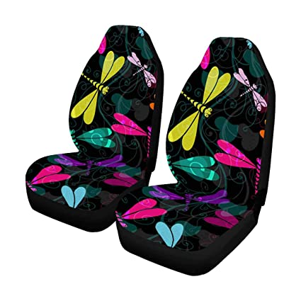 InterestPrint Colorful Dragonflies Front Car Seat Covers Set Of 2 Universal Fit For Vehicle