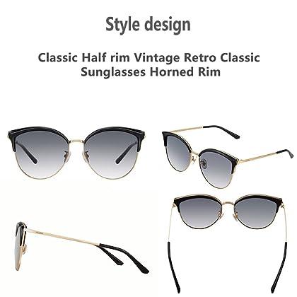 f6ff357ed1f ... JOJEN Semi Rimless Cateye Polarized Sunglasses for Women Metal TR90 Frame  JE015 ...