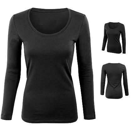 c7ddc77e2c65 Amazon.com : Women Junior Plain Basic Long Sleeve Round Stretch T-Shirt  Crew Neck Top Black M : Sports & Outdoors