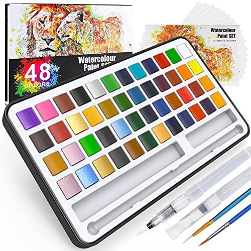 Buluri Caja de acuarelas,48 colores juego de pintura de acuarela+2 plumas de gancho de línea + 2 pinceles para tanque de agua + 10 papeles acuarela-Pinturas para Niños o Profesionales