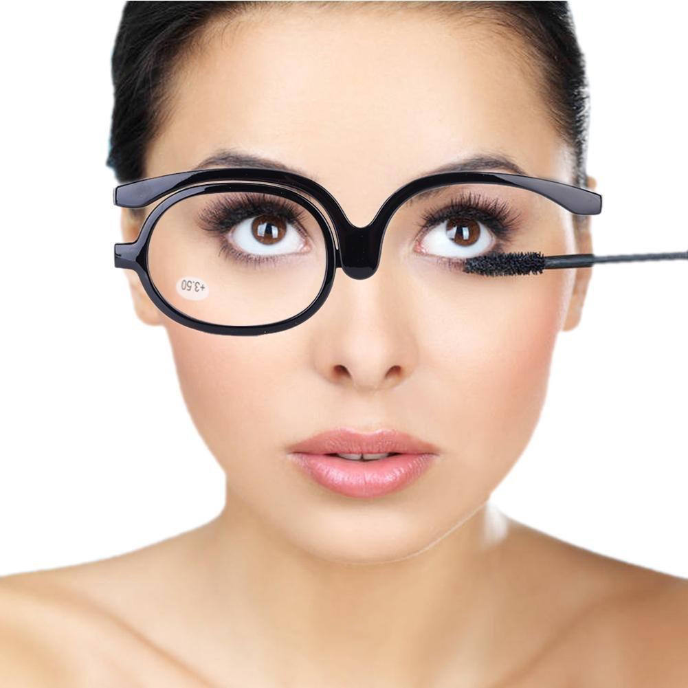 Makeup Glasses, 1.0~+4.0 Magnify Rotating Eye Single Lens Make Up Eyewear Women Cosmetic Reading Eyeglasses (Black 350) Yotown