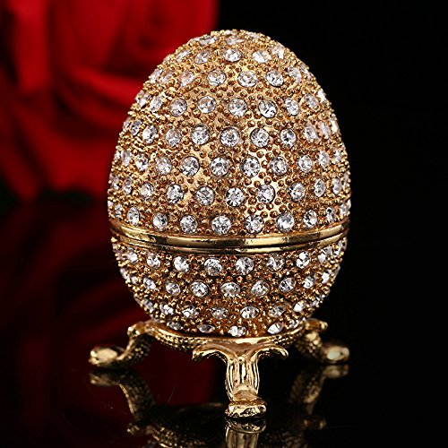 Metal Gold Stone Easter Egg and faberge Egg Crafts Ornaments by YingYing Desk and Table Decor