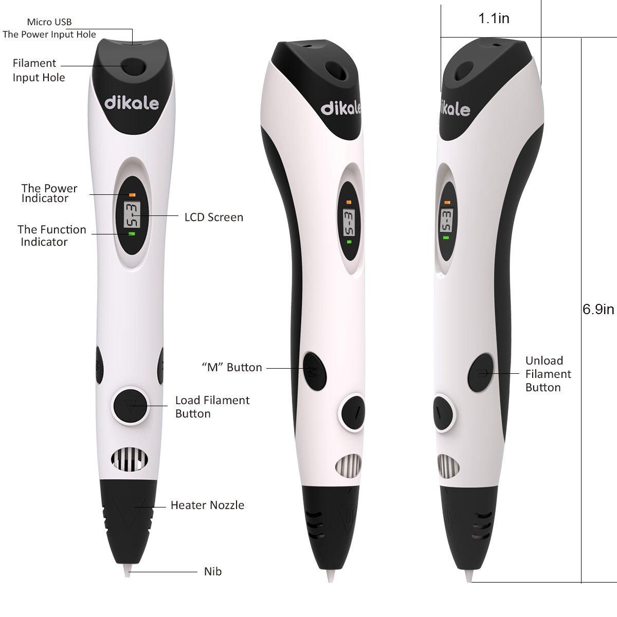 07A-White with 18 Colors PLA dikale 3D Pen with PLA Filament Refills 07A【Newest Version】 3D Drawing Printing Printer Pen Bonus 12 Colors 120 Feet PLA 250 Stencil eBook