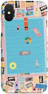 ERQINGT Etui pour Téléphone Portable pour Iphone X Personnalité Téléphone Mobile Shell Piscine Bleu Poudre Créatif 6S Mat 7 Ultra-Mince 8Plus Couple Demi-Pack Coquille Dure