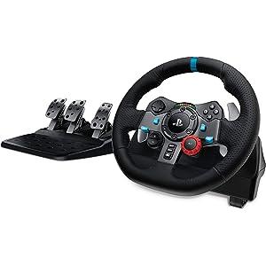 Logitech G29 Driving Force Volante da Corsa con Pedali Regolabili, Ritorno di Forza Reale, Comandi Cambio in Acciaio Inossidabile, Volante in Pelle, Spina EU, PS4/PS3/PC/Mac - Nero