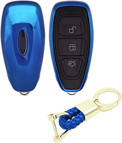Black+red+Blue BE Remote Key Cover Silicone Car Key Case Keyless Entry Car for Ford Focus 3 Escape Fiesta ST Titanium Mondeo Ecosport Kuga MK3 3 Buttons