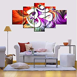 Native Indian Paintings Hinduism Om Pictures for Living Room Giclee Multi Piece Prints Canvas Wall Art Modern Home Decor Sanskrit Aum Sign Artwork Framed Stretched Ready to Hang Gift(60''W x 32''H)