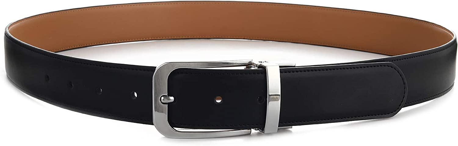 Gelante Mens Reversible Leather Belt Rotated Buckle Various Size