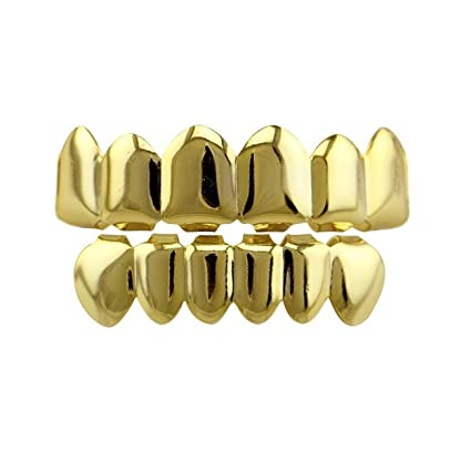 24K Gold Plated Hip Hop Teeth Grillz Punk Custom Fit Teeth Grillz Caps Top    Bottom Grill Set Removable Hip Hop Mouth Grills For Women Men Gift  Halloween ... 8b16b82ae0