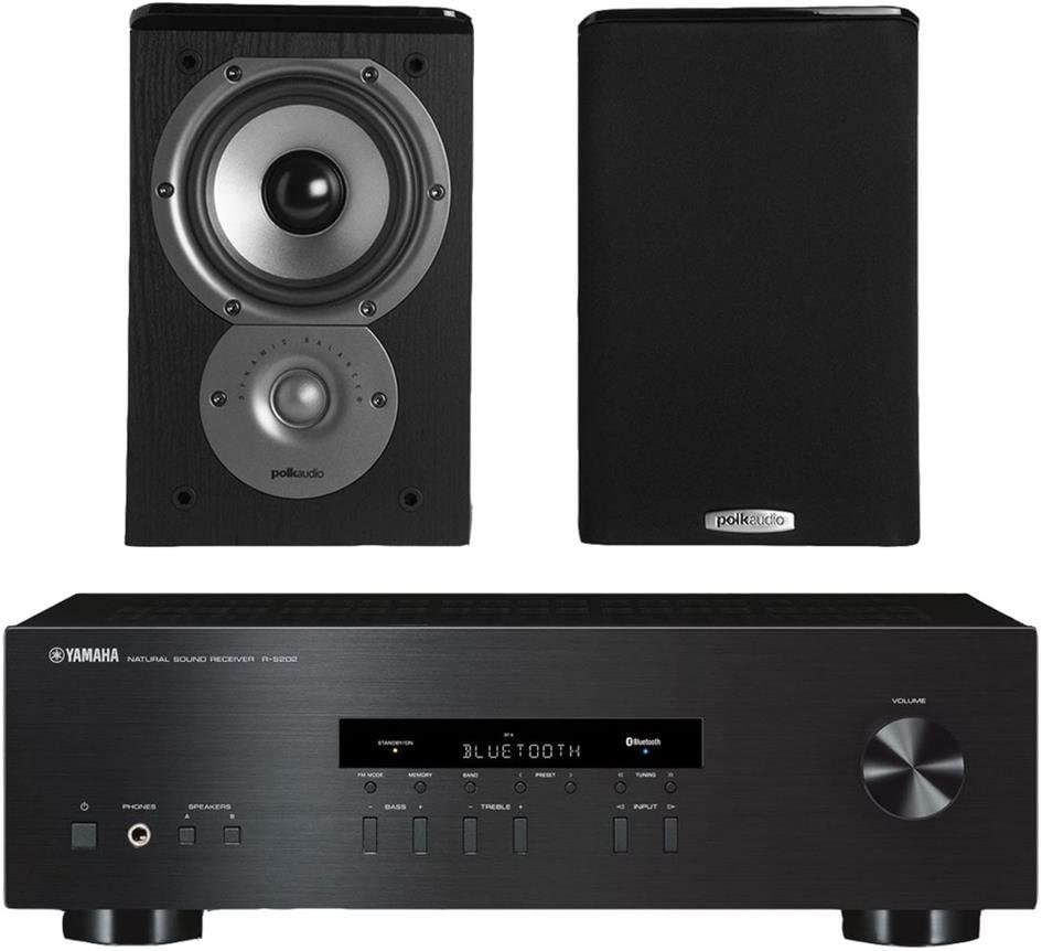 Yamaha R-S202 Stereo Receiver Bundle with Polk TSi100 2-Way Bookshelf Speakers with 5-1 4 Driver – Pair Black