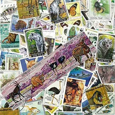 Colección de sellos matasellados con ilustraciones de animales salvajes, 100 sellos diferentes: Amazon.es: Hogar