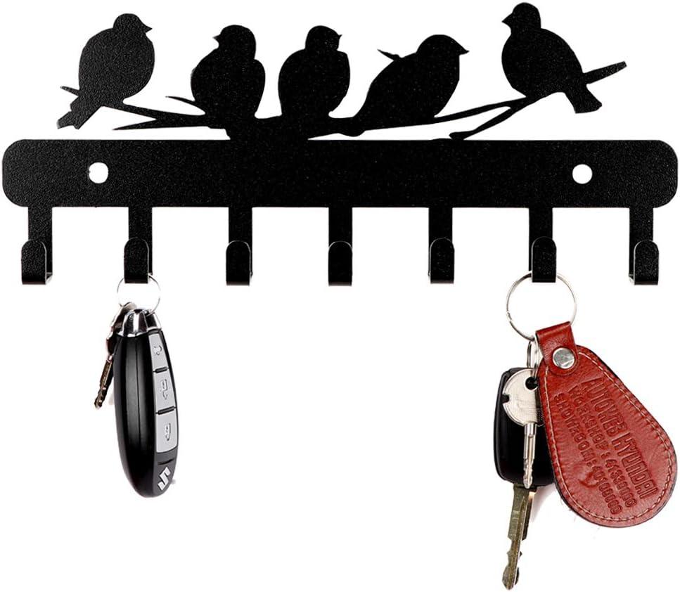 Sehaz Artworks Decorative Metal Wall Hooks for Keys | 7 Hook 5-Birds Wall Rack | Hooks Rack/Holder for Kitchen Utensil | Wall Mounted Key Holder Key Rack Key Hanger | Bathroom Towel Hooks | Hat Rack