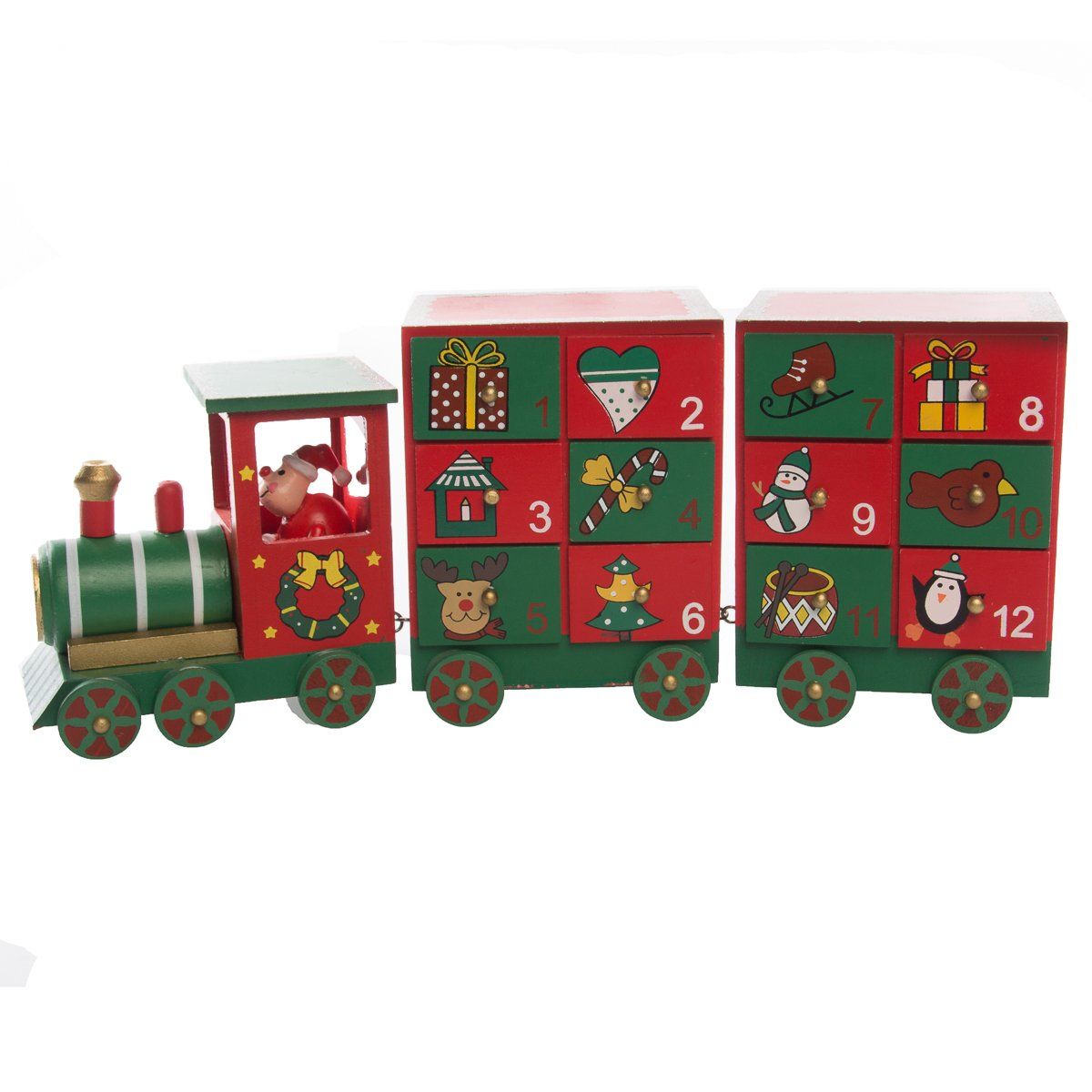 Hot Headz Wood Advent Calendar with Drawers Christmas Holiday Train Set Reusable Daily Countdown