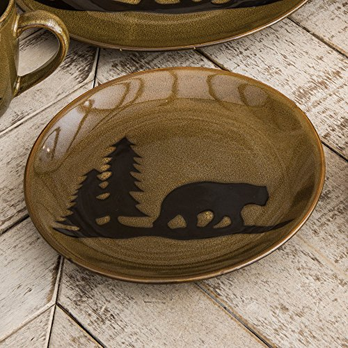 Black Forest Décor Moose and Bear Lodge Stoneware Salad Plate - Kitchen -