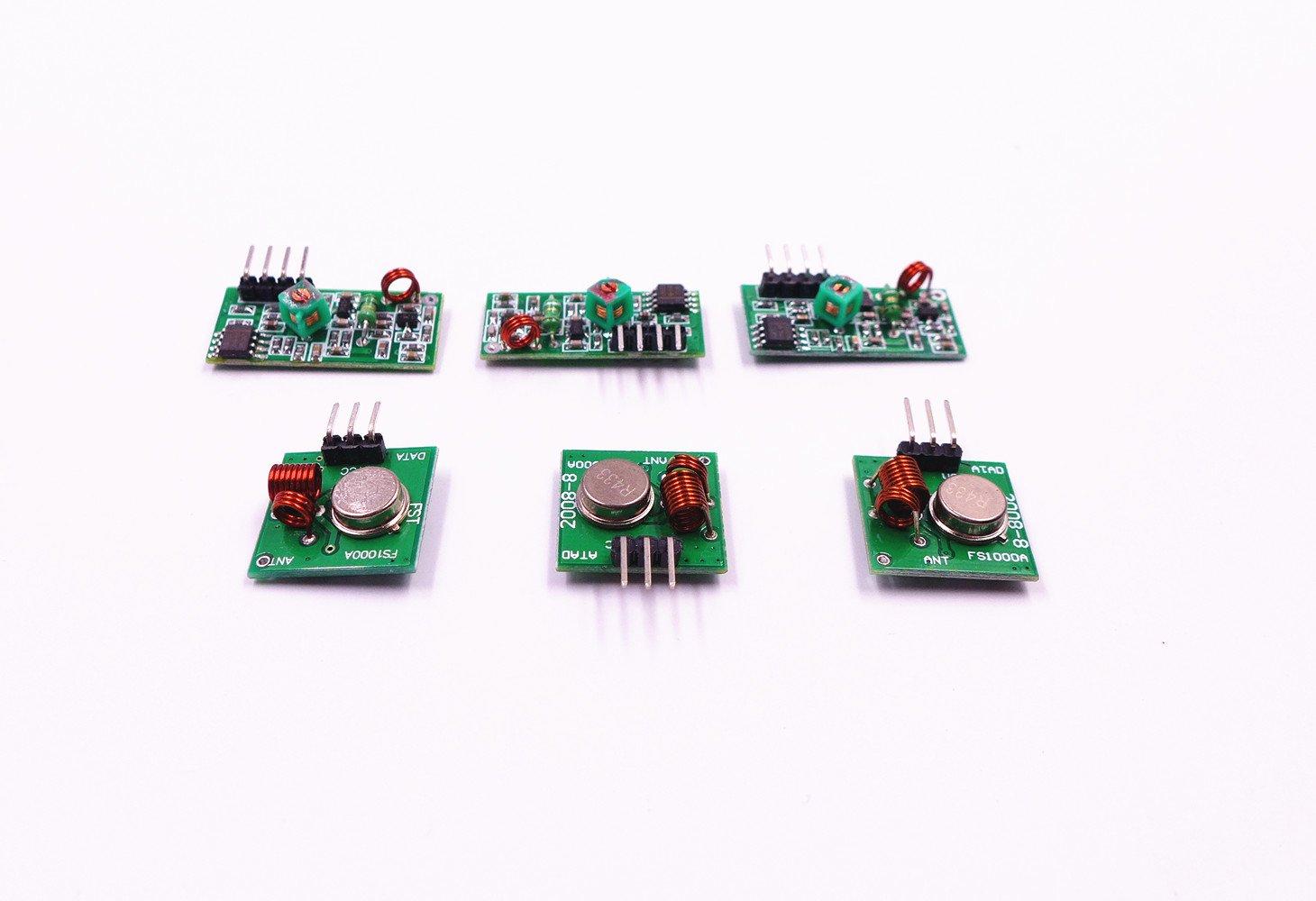 JZK® 3 x 433Mhz RF Superregeneration Fern Funk Sender receiver und ...