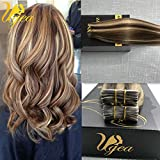 Ugeat 20 inch Remy Hair Extensions Highlight Colored Brown Mixed Blonde Skin Weft Tape in Hair Extensions Silky Straight Human Hair Extensions offers