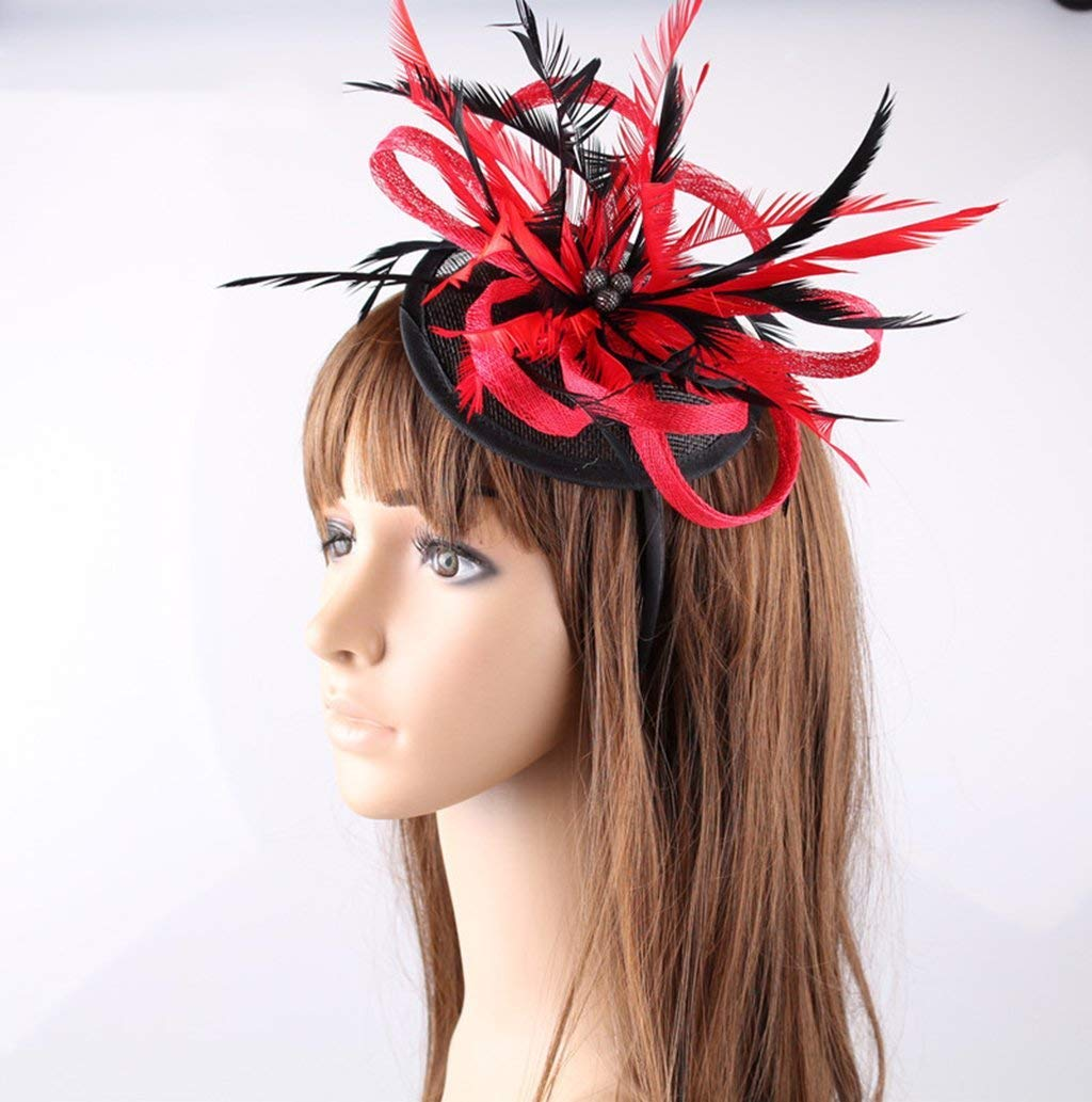 Amazon.com: Fascinator Women Hat Flower Feathers Clip Cocktail Party Headwear Hats Party Derby Ball Banquet Festival Cap: Sports & Outdoors