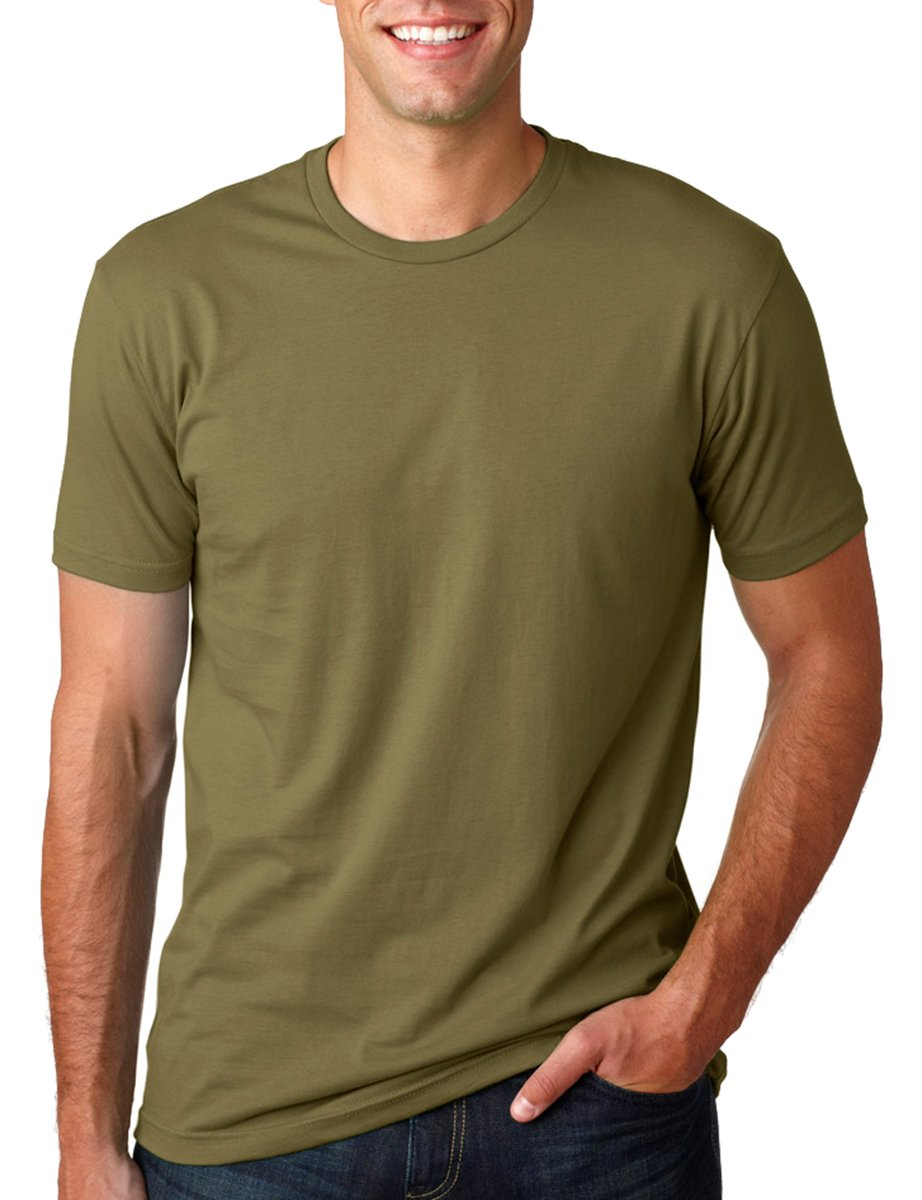 Next Level Mens Premium Fitted Short-Sleeve Crew T-Shirt - Heavy Metal + Military Green (2 Pack) - Large