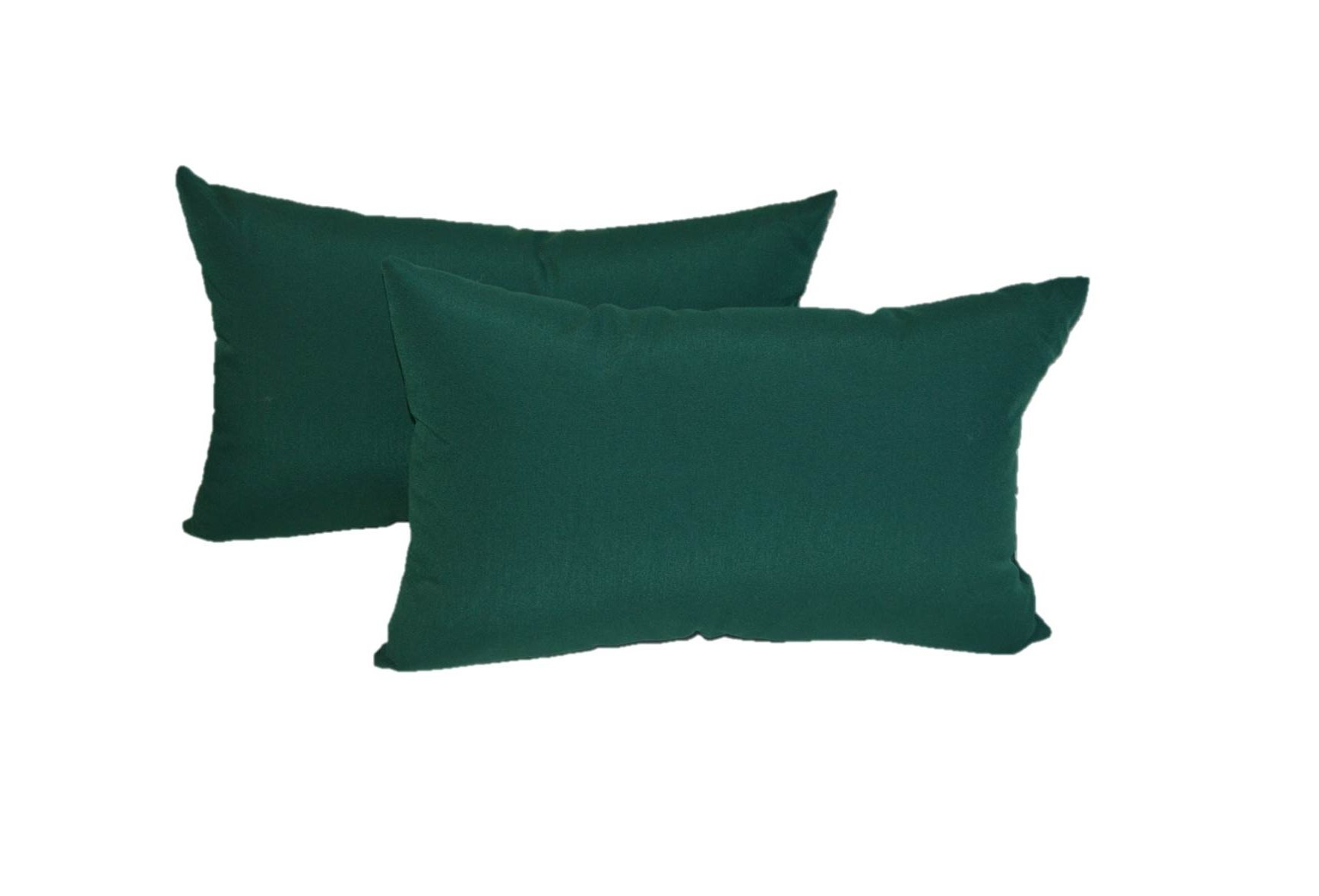 Set of 2 Indoor / Outdoor Decorative Lumbar / Rectangle Pillows - Solid Hunter / Forest Green Fabric - Choose Size (11'' x 19'')