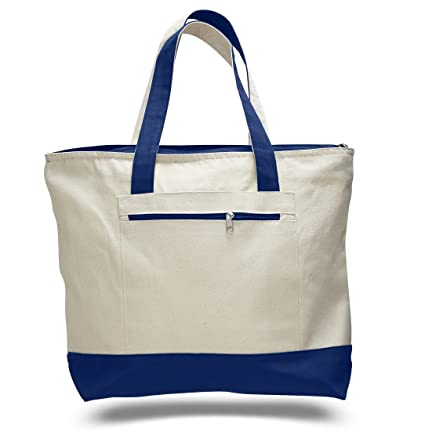 3e21cac2ab2e Image Unavailable. Image not available for. Color  Reusable Zipper Shopping  Tote Bag Heavy Canvas ...