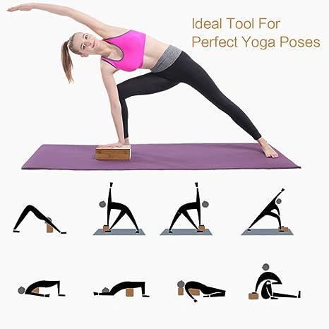 Bamboo Yoga Bricks- Herramienta de bloque rectangular natural, respetuosa del medio ambiente, no tóxica, duradera para el entrenamiento deportivo de ...