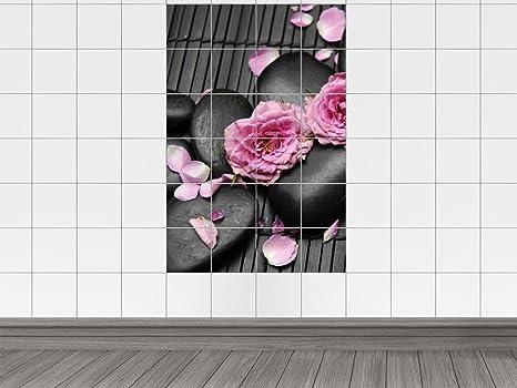 Piastrelle adesivo piastrelle stampa su fiori rosa nera con