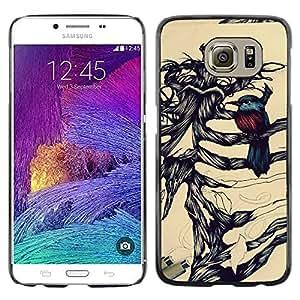 LECELL--Funda protectora / Cubierta / Piel For Samsung Galaxy S6 SM-G920 -- Robin Bird Skeleton Brown Black --