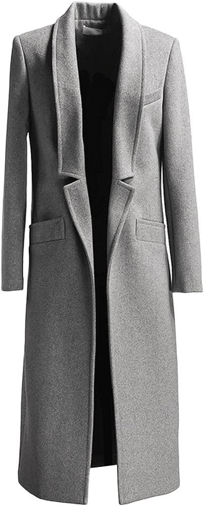 GESELLIE Womens Vintage Black Single Breasted Outwear Lapel Thick Full-Length Wool Pea Coat