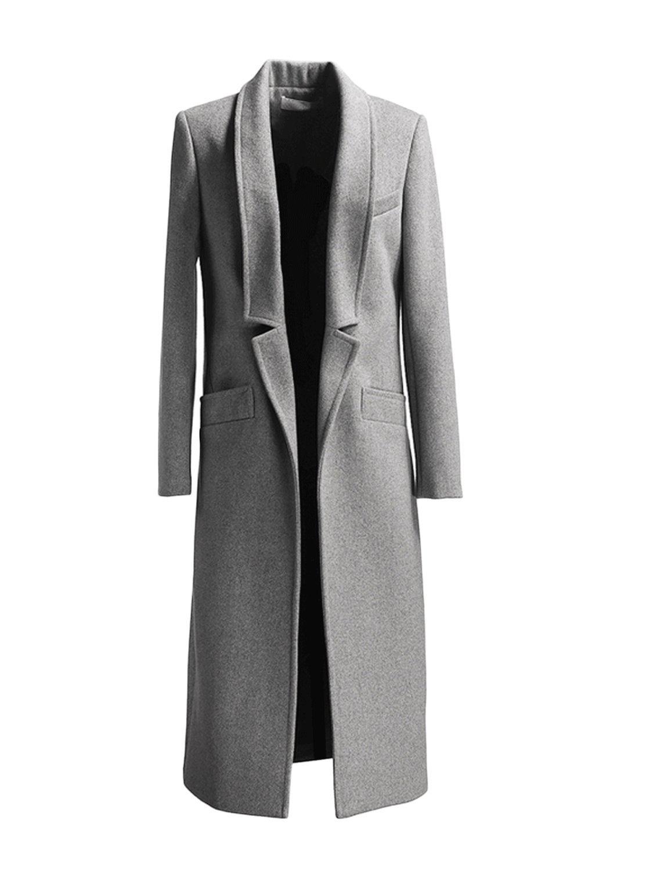 Persun Women Gray Woolen Lapel Long Sleeve Longline Coat,Small