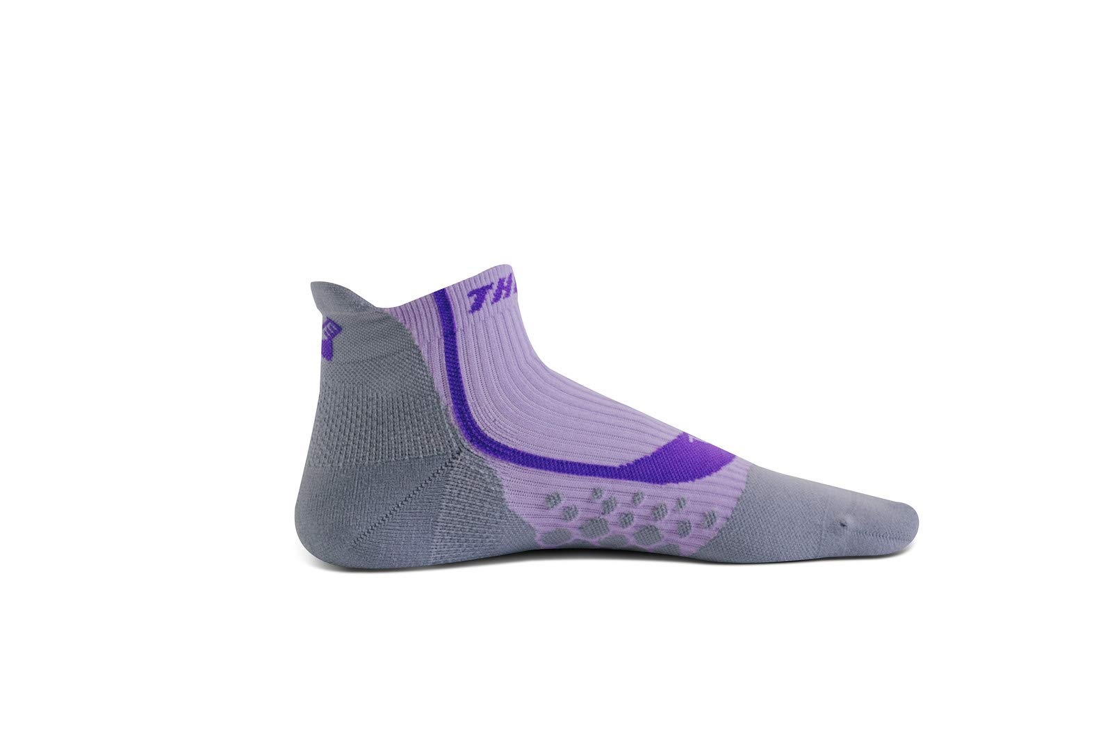 Thirty 48 Compression Low-Cut Running Socks for Men and Women (Small - Women 5-6.5 // Men 6-7.5, [1 Pair] Purple/Gray)