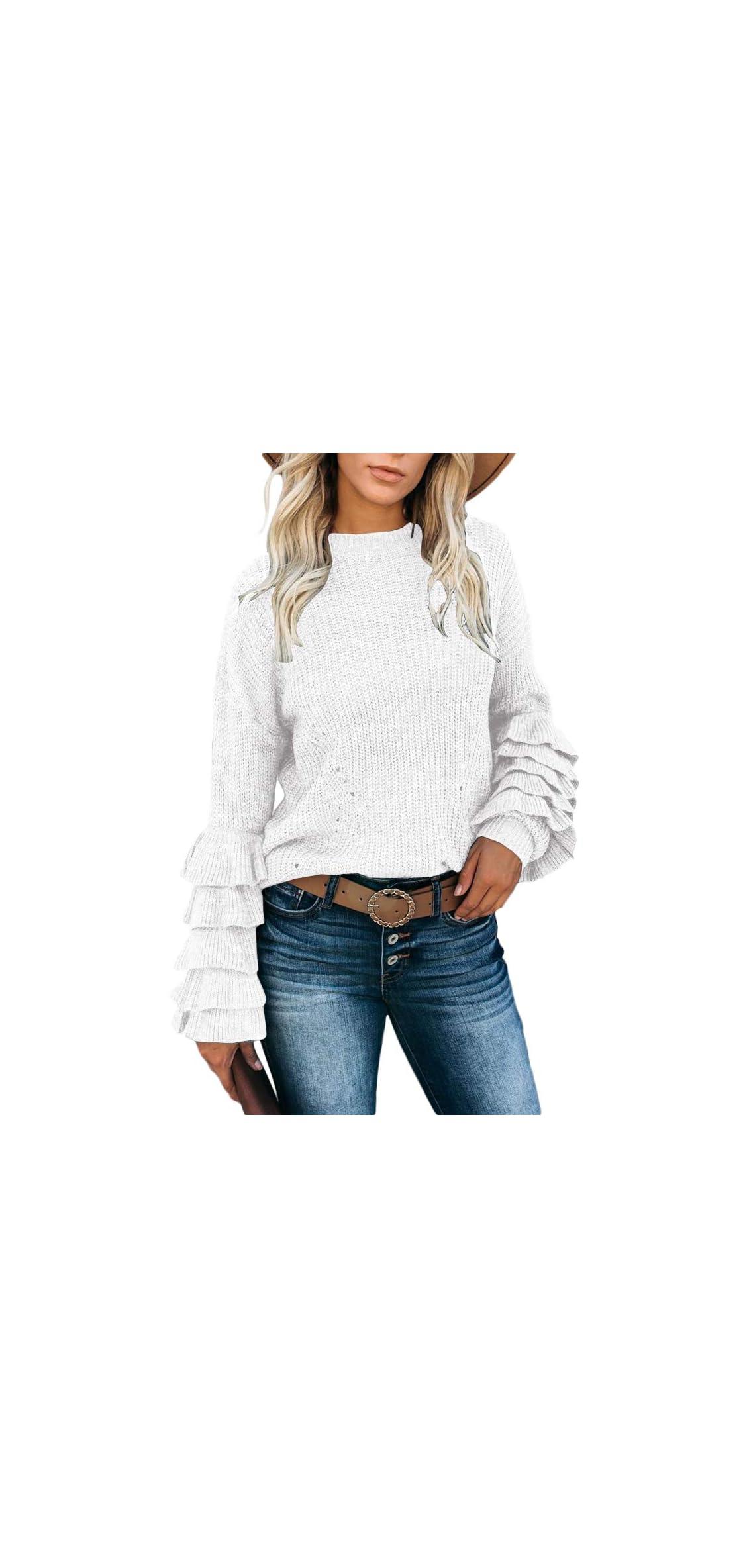 Womens Ruffle Layers Sweatshirt Puff Sleeves Drop Top
