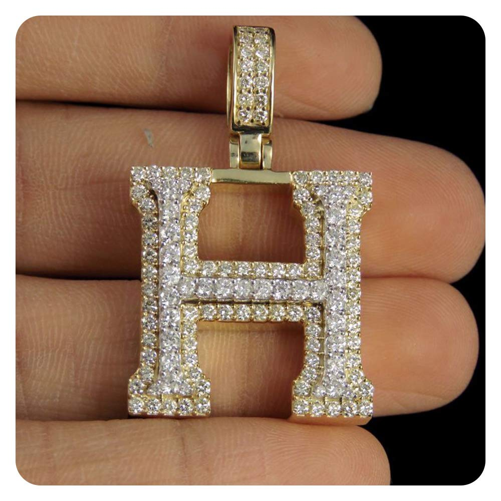RUDRAFASHION Round Cut Diamond 14k Yellow Gold Plated Initial Alphabets Pendant A-Z Alphabets for Womens Girls