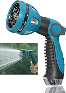 Garden Water Hose Nozzle, 10 Adjustable Patterns Garden Hose Spray Nozzle, Blue Watering Wand Fire Hose Nozzle for Garden Hose, High Pressure Hose Nozzle for Watering Plants Lawns
