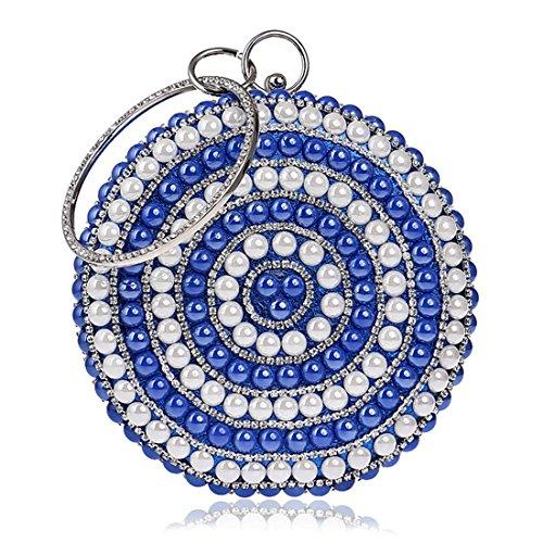 Redondo Monedero Mujeres Rhinestone color Del Plata Silver Magai Blue Las De Tarde Cerámica Bolso La Noche txBv1Uqgw