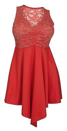 03dd78bb3eb026 Amazon.com: eVogues Plus Size Lace Overlay Sleeveless Dress Coral ...