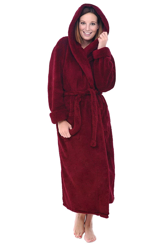 Alexander Del Rossa Womens Full Length Hooded Plush Fleece Robe, Long Bathrobe A0304-Solid