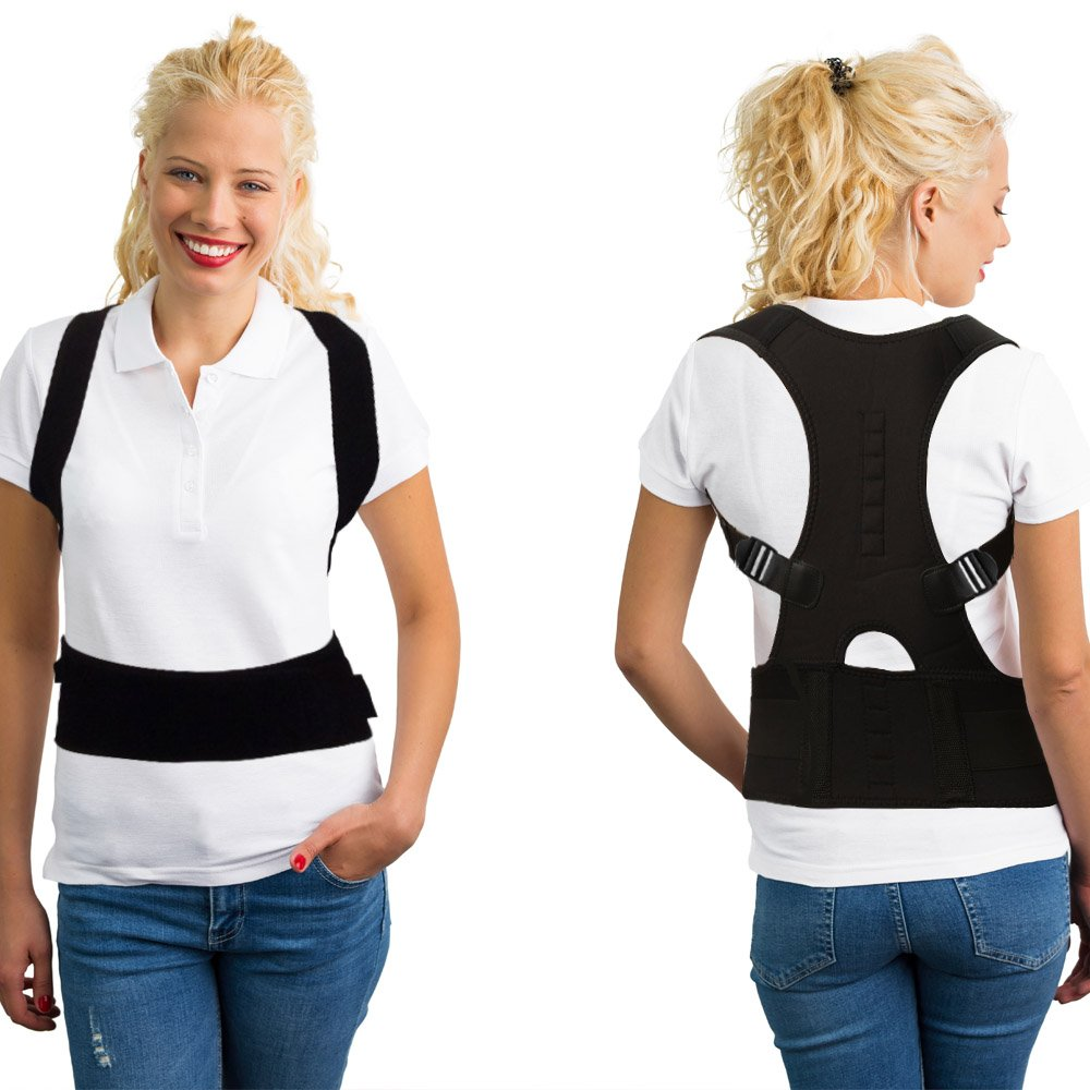 Remedy Health Spine Support Posture Corrector for Women | Padded and Lined with Pressure Point Targeting Magnets for Extra Support Comfort and Spinal Stress Relief [Black]