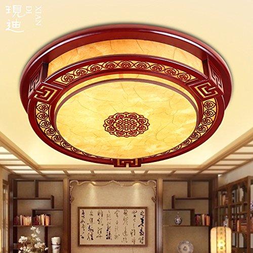 BLYC- Runde chinesische feste Holz Schlafzimmer Lampe Deckenlampe ...