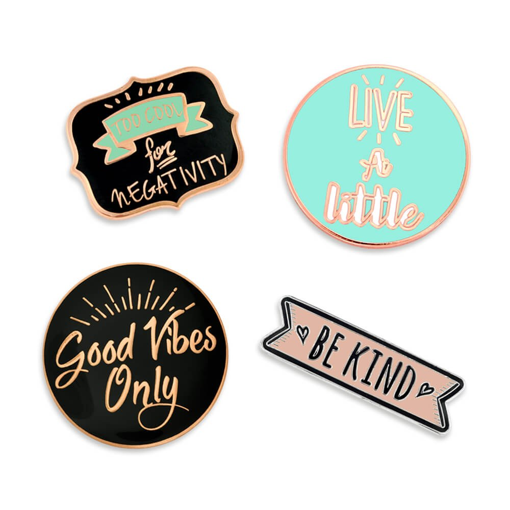 PinMart's Good Vibes Motivational Inspirational Enamel Lapel Pin Set PS1883
