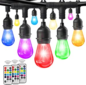 HueLiv 2-Pack 49FT Colored Outdoor String Lights, Warm White&RGB Dimmable Café LED String Light, 30+4 Impact Resistant Bulbs, Commercial Patio Light for Christmas, Holiday, 3Remote, 98FT, Upgraded