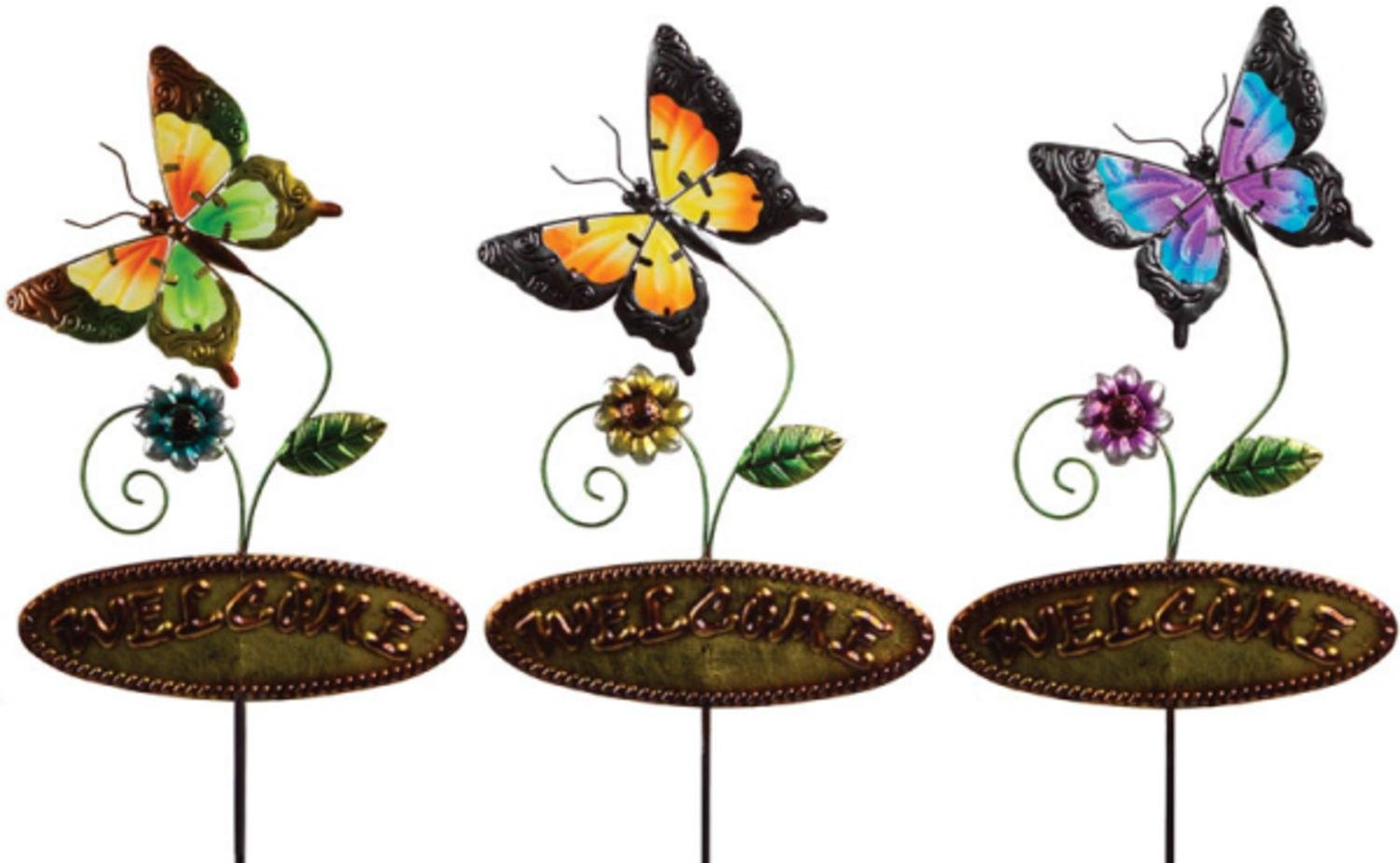 Pack of 6 Butterfly Welcome Stakes Green, Yellow and Blue Metal and Glass 45''