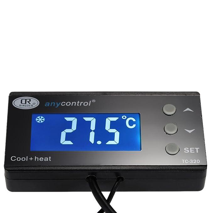 Anself Regulador de temperatura digital para acuario pecera de LCD pantalla retroiluminación termostato para tanque de peces termómetro de reptiles terrario ...