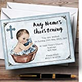 vintage baby tub - Vintage Baby Boy In Tub Personalized Christening Invitations