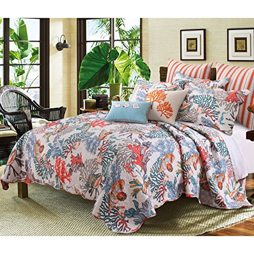 5 Piece Dreamy Atlantis Themed Reversible Quilt Set Full/Queen Size, Classic Deep Coastal Printed Corals Themed Bedding, Dense Ocean Creatures Design, Stylish Teenage Girls Bedroom, Blue, Orange - Printed Coral