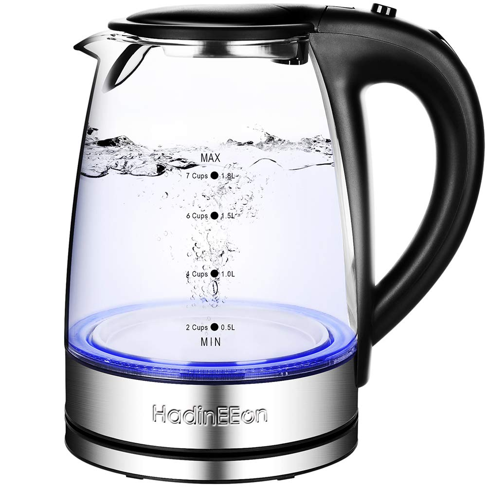 HadinEEon Electric Kettle Glass Boiler Coffee Pot, Water Heater 7 Big Cups 1.8 Liter with Quick Boil, Auto Shut Off and Boil-Dry Protection