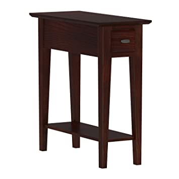 Aparte Side Table.Leick 10071 Ch Chairside End Table Narrow Recliner Side Table Solid Wood 10 Inch Wide Hand Applied Cherry Finish
