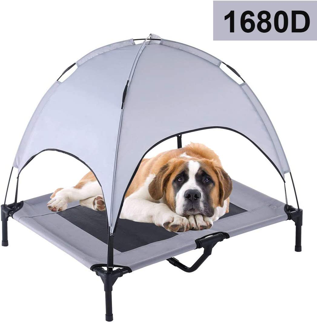 "RELIANCER 30""/ 36""/ 48"" Elevated Dog Cot with Canopy Shade 1680D Oxford Fabric Outdoor Pet Cat Cooling Bed Tent w/Convenient Carrying Bag Indoor Sturdy Steel Frame Portable for Camping Beach"