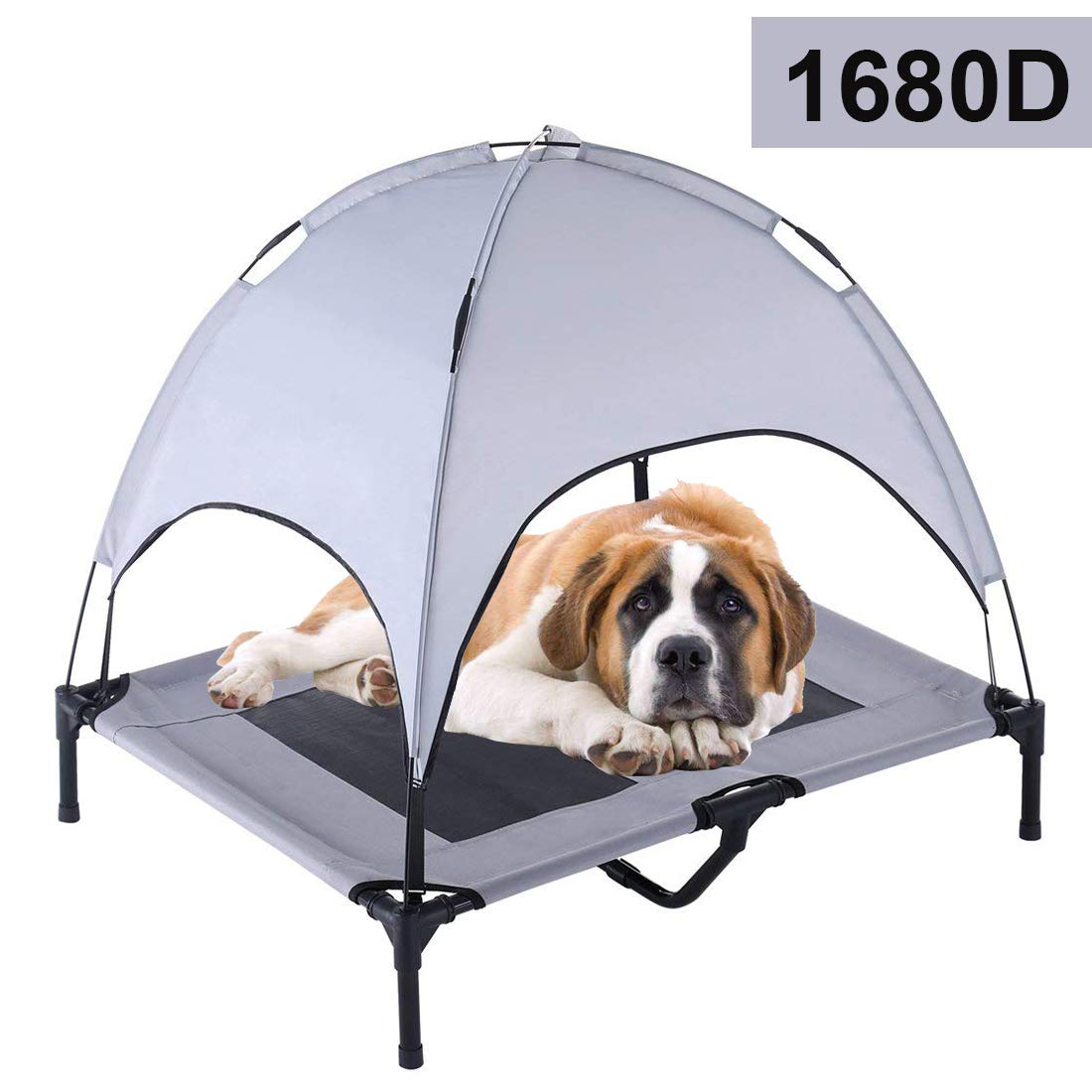 Reliancer Large 36'' Elevated Dog Cot with Canopy Shade 1680D Oxford Fabric Outdoor Pet Cat Cooling Bed Tent w/Convenient Carrying Bag Indoor Sturdy Steel Frame Portable for Camping Beach (36, Grey) by Reliancer