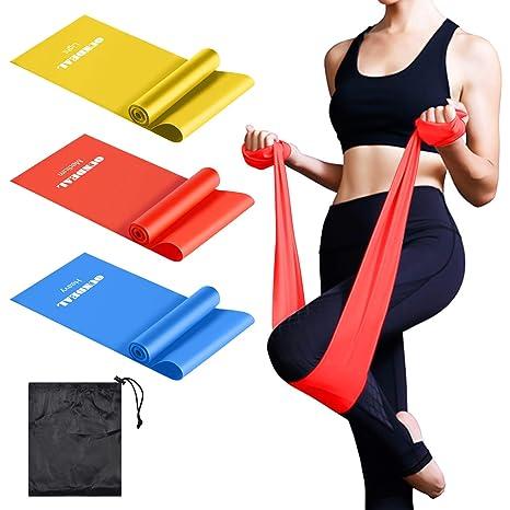 OUNDEAL Bandas Elasticas Resistencia Bandas de Ejercicios Bandas Elasticas Fitness 4 Niveles de Fuerz para Fisioterapia, Yoga, Pilates, ...